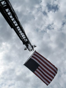 What's could be more American than a flag flying off the ladder truck?