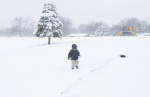 Joseph wanted to go play on the playground, but found the snow to deep to walk through.