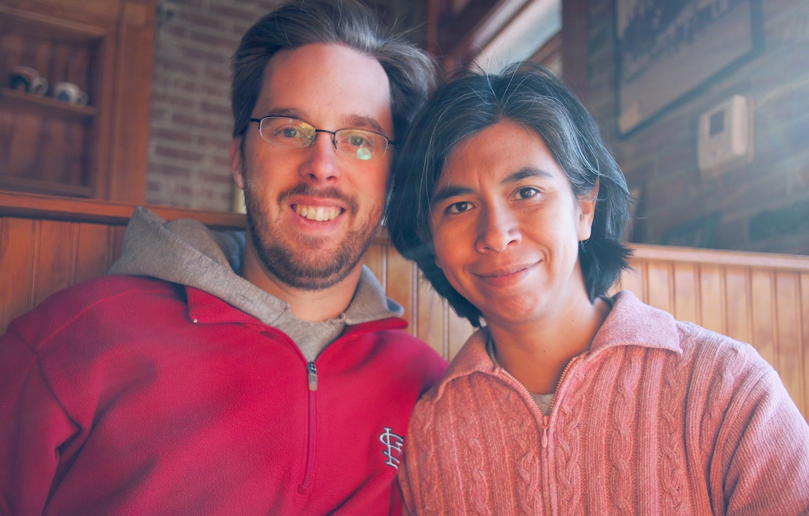 Josh and Yoli celebrate their anniversary at the Corner Coffeehouse in Ferguson.