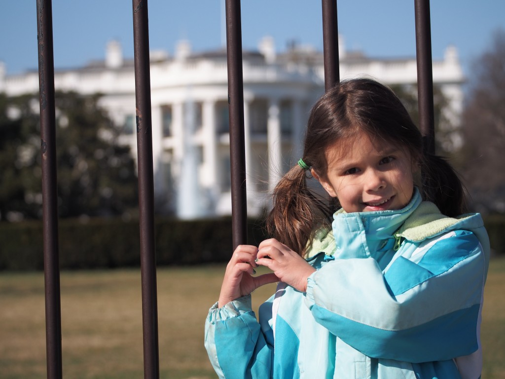 Josie was the one who wanted to get a photo with the White House.