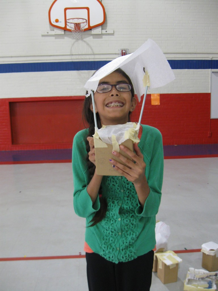 "Jadzia built a parachute to cradle her egg during the ""Scary Science"" camp at Vogt Elementary"