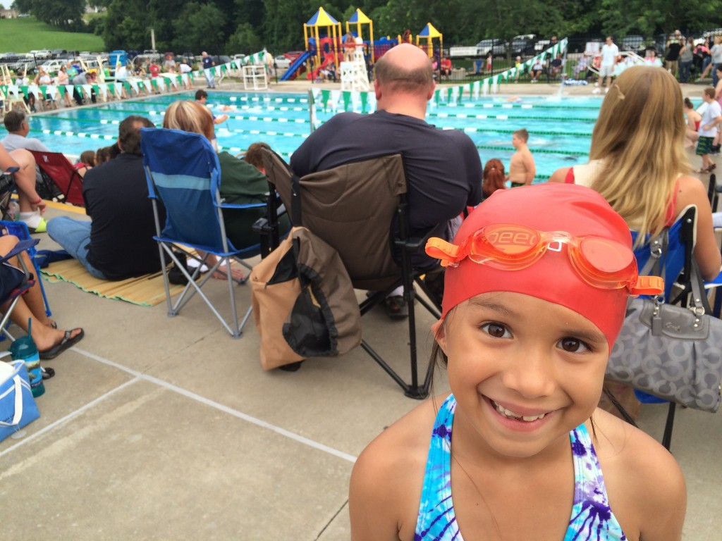 Ludi at her last swim meet before we had to leave town on vacation.