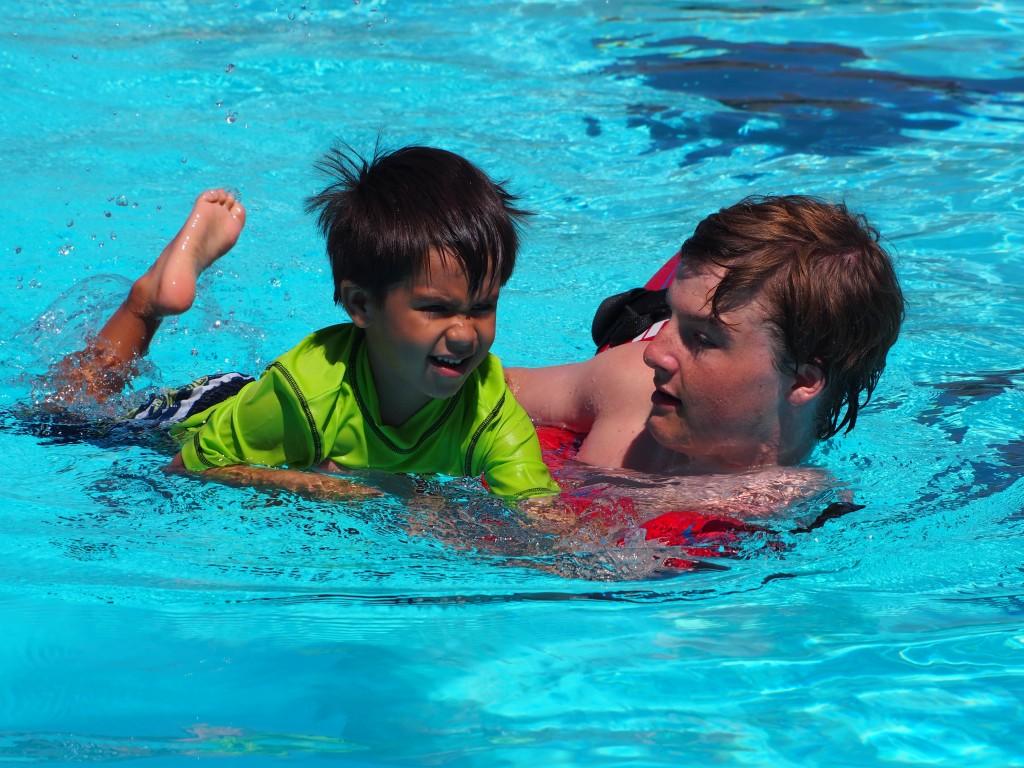 Joseph swims