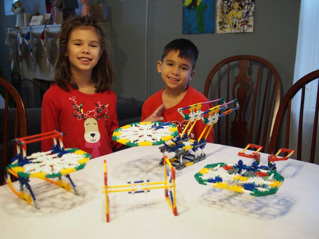 Josie and Joseph with some of their favorite K'nex ship models.
